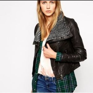 DOMA Leather Jacket with black and white collar